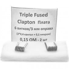 Койлы New CoilsTriple Fused Clapton Плата 0.15 Ом A1+NI, (3x0.4), пара